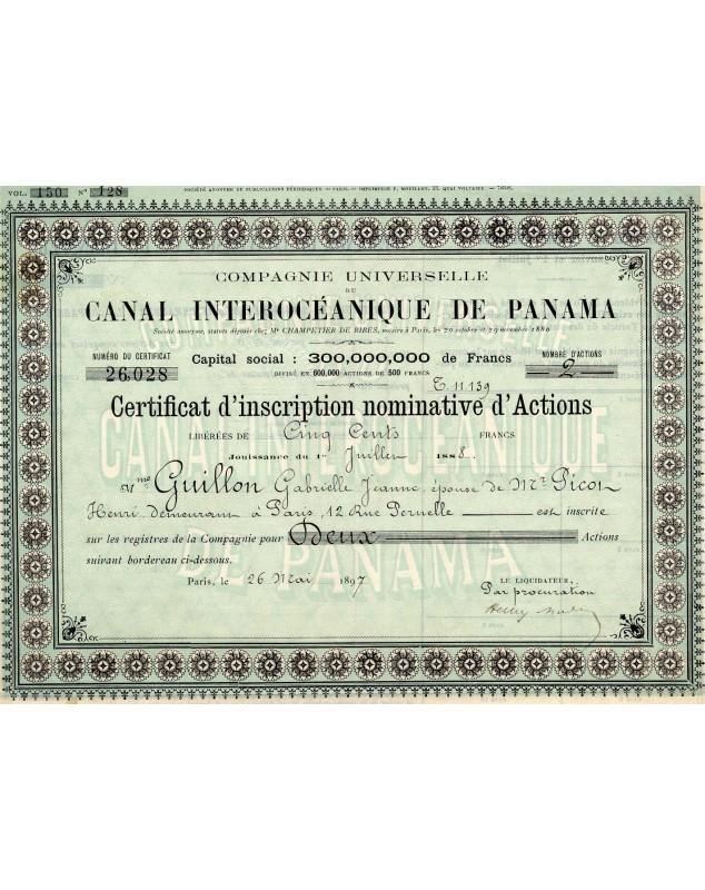 Cie Universelle du Canal Interocéanique du Canal de PANAMA