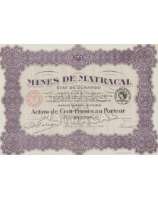 Mines de Matracal, Etat de Durango. 1926