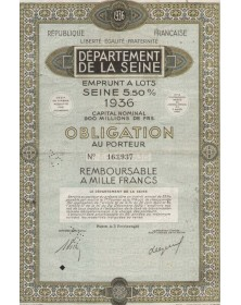 République Française, Département de la Seine - 5.5 Seine District Loan 1936