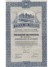 Ville de Paris - Emprunt à Lots 4,5% 1932