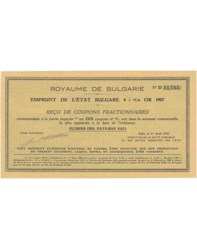 Royaume de Bulgarie - Emprunt de l'Etat Bulgare 4,5% Or 1907