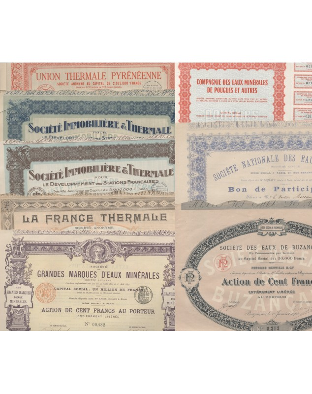 Mineral waters: Lot of 10 French certificates