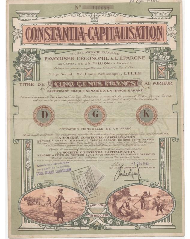 Constantia-Capitalisation (pour favoriser l'Economie & l'Epargne)