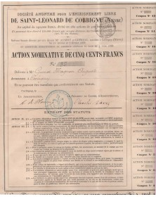 Sté pour l'Enseignement Libre de Saint-Leonard de CORBIGNY (Nièvre)