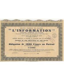 """S.A. du Journal """"L'Information"""" Financière, Economique et Politique. 1931"""