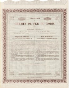 Northern of France Railway. Cie du Chemin de Fer du Nord. 1862