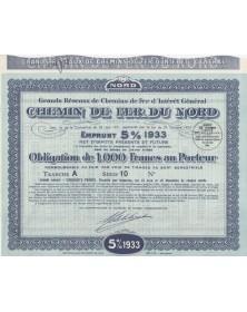 Grands Réseaux de Chemin de Fer d'Intérêt Général. Chemin de Fer du Nord. Emprunt 5% 1933