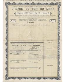 Grands Réseaux de Chemin de Fer d'Intérêt Général. Chemin de Fer du Nord. 1921