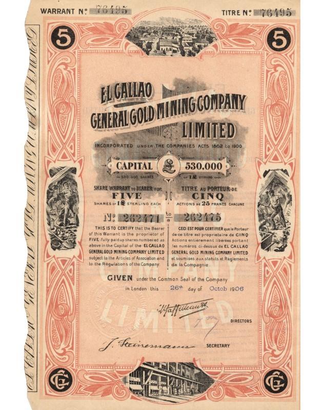 El Callao General Gold Mining Company Ltd. (cert. of 5 shares)