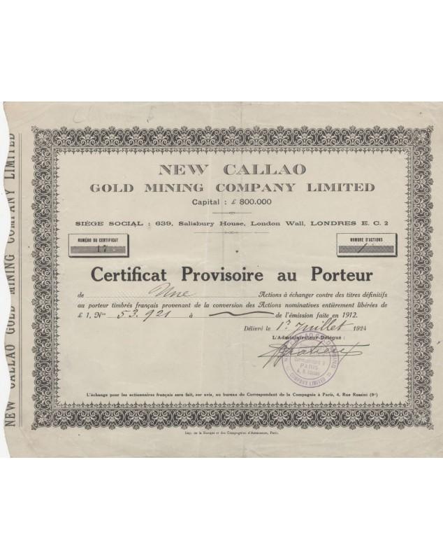 New Callao Gold Mining Company Ltd. 1924