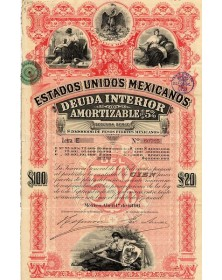"Estados Unidos Mexicanos - Deuda Interior 5% 2nde Série 1896  (""Pink Lady, Red Diamond"")"