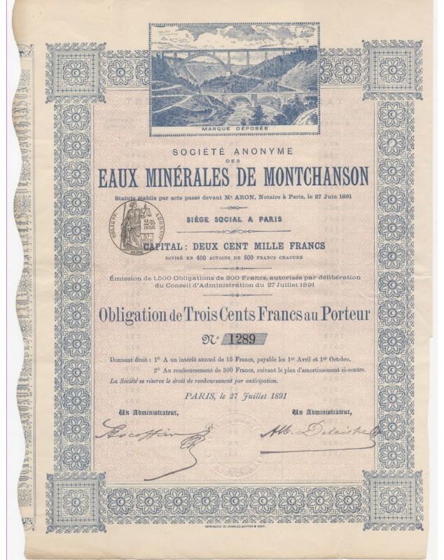 Sté des Eaux Minérales de Montchanson (Cantal)
