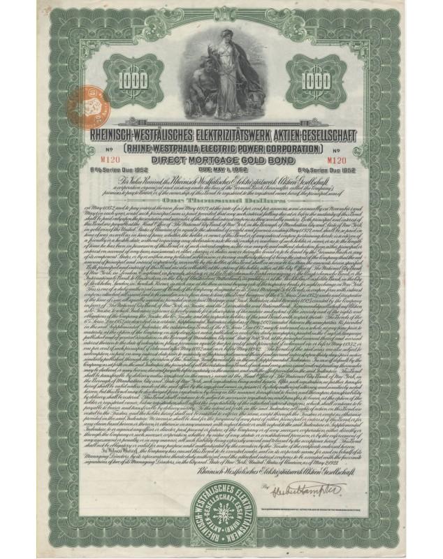 Rhine-Westphalia Electric Power Corporation. Direct Mortgage Gold Bond