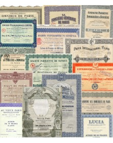 Lot of 15 bonds and shares about Paris, France (Municipal loans, Real estate, Cinema, Eiffel...)