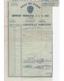 City of Paris - 3.5% Municipal Loan 1942