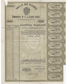 City of Paris - 4% Municipal Loan 1931