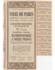 City of Paris - 3,5% Municipal Loan 1942