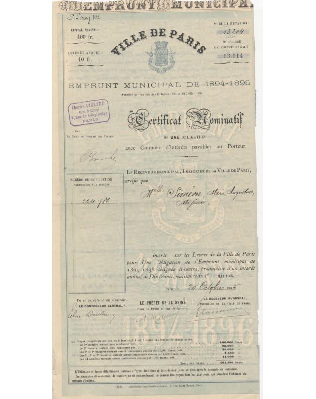 Ville de Paris - Emprunt Municipal 1894-1896