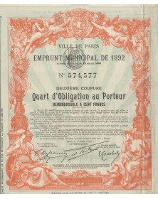 City of Paris - Municipal Loan 1892