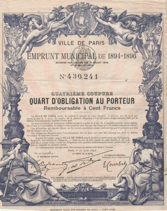 City of Paris - Municipal Loan 1894-1896