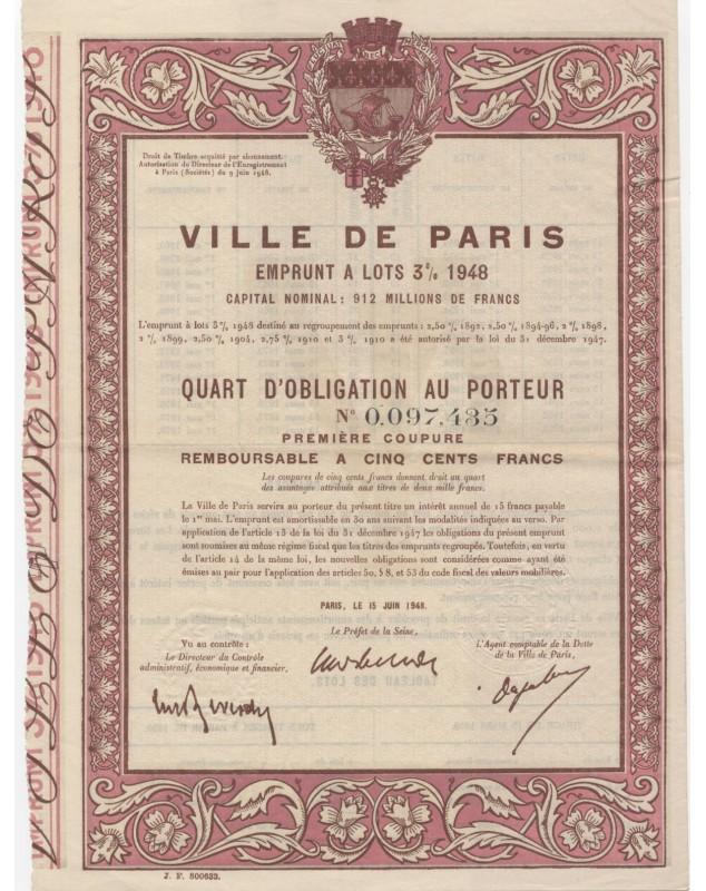 City of Paris  - 3% Municipal Loan 1948