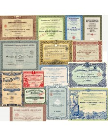 Lot of 15 old share certificates about Marseille