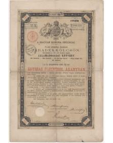 Royaume de Hongrie - Emprunt Or 4% 1893, 100 Fl.