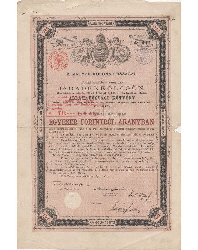 Kingdom of Hungary - 4% Gold Bond 1888, 1000 Fl