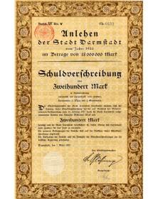 Unlehen der Stadt Darmstadt. Emprunt de la Ville de Darmstadt 1920. 200 Mark