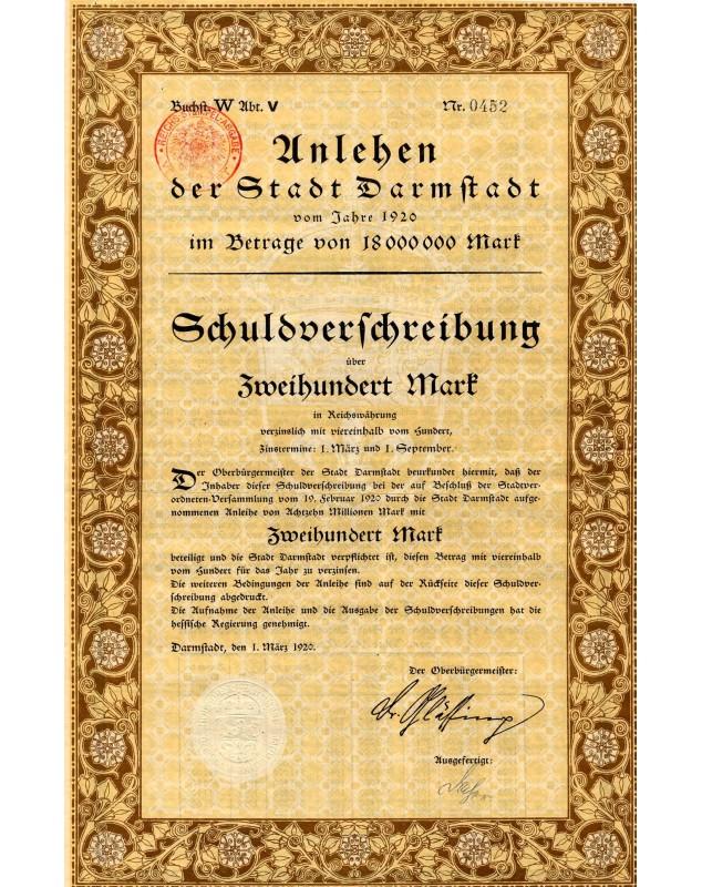 Unlehen der Stadt Darmstadt 1920. 200 Mark