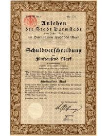 Unlehen der Stadt Darmstadt. Emprunt de la Ville de Darmstadt 1920. 5000 Mark