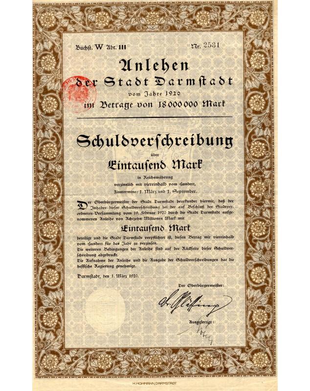 Unlehen der Stadt Darmstadt - 1000 Mark 1920