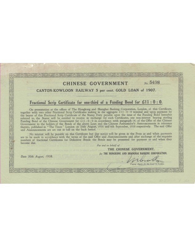 Chinese Government. Canton-Kowloon Railway Emprunt Or 5% 1907