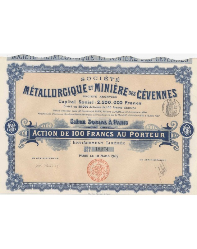 Sté Métallurgique et Minière des Cévennes. 1907