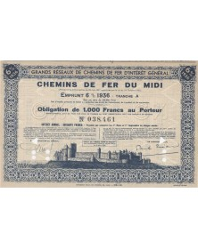 Grands Réseaux de Chemins de Fer d'Intérêt Général. Chemins de Fer du Midi. Emprunt 6% 1936 Tranche A