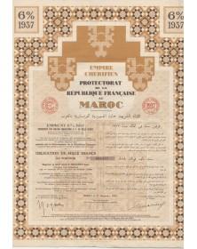 Empire Chérifien, Protectorat de la République Française au Maroc - Emprunt garanti 6% 1937