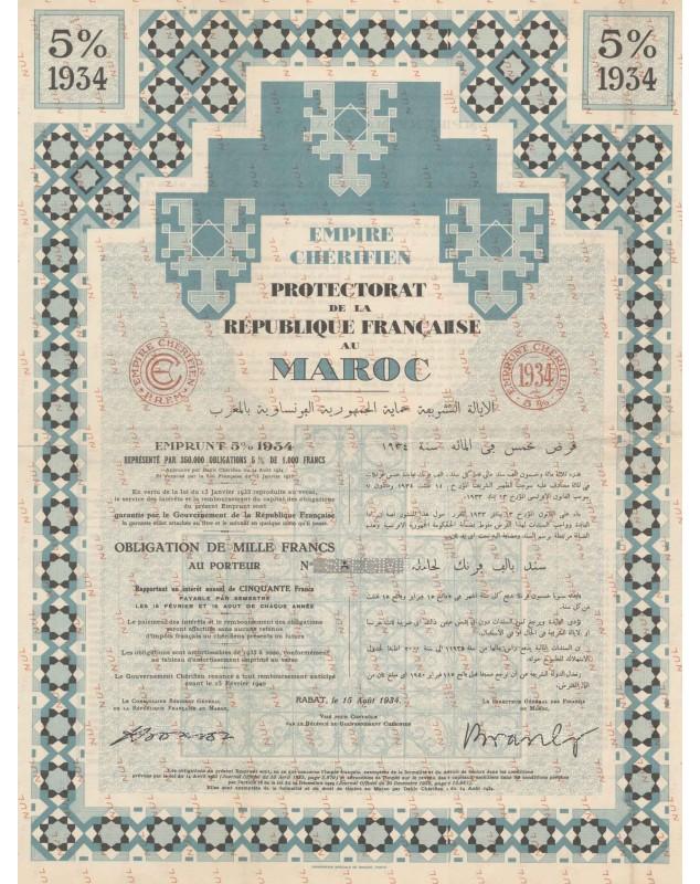 Empire Chérifien, Protectorat de la République Française au Maroc - 5% Loan 1934. SPECIMEN