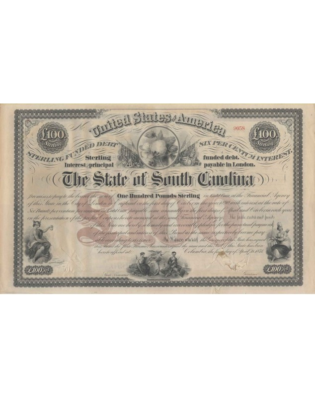 The State of South Carolina - 6% Consolidated Bond 100£