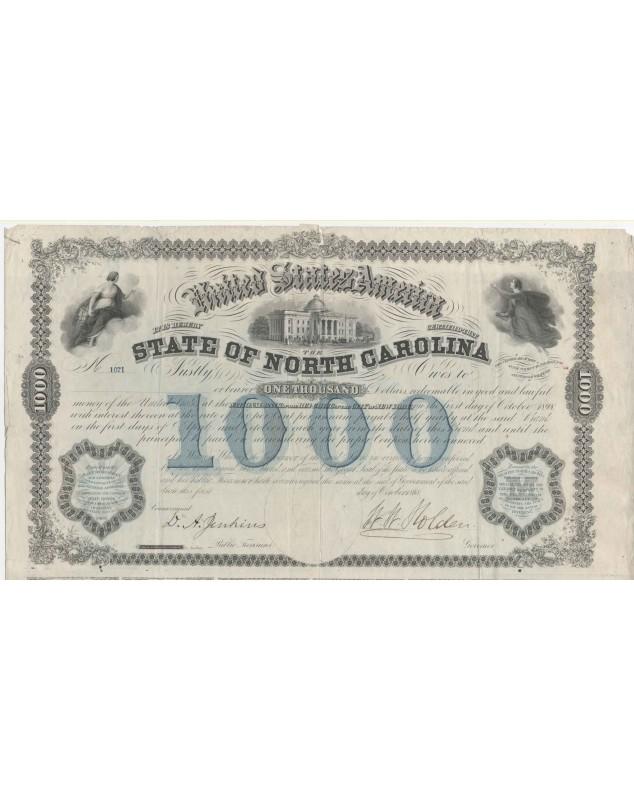 State of North Carolina - 1000$ 6% Bond 1968