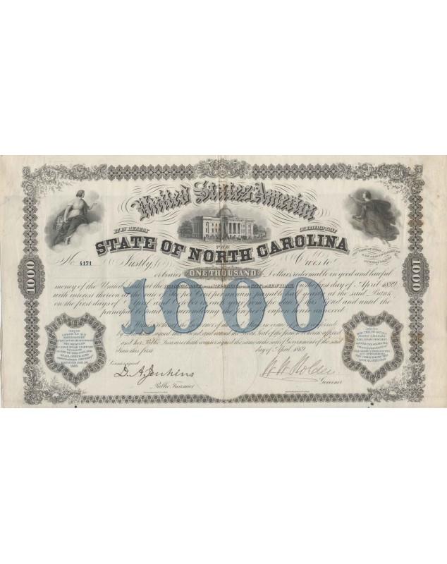 State of North Carolina - 1000$ 6% Bond 1969 (Western North Carolina Rail Road Company)