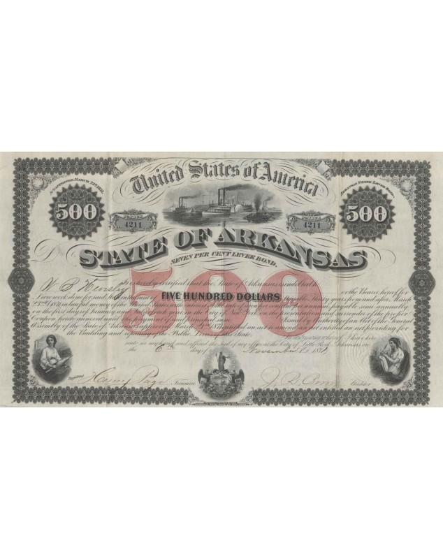 United States of America State of Arkansas - 7% Levee Bond