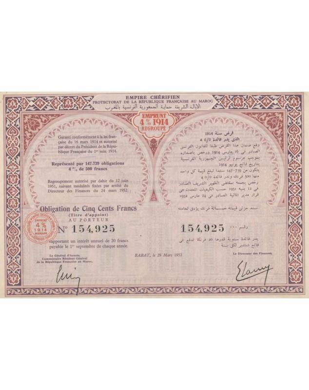 Empire Chérifien, Protectorat de la République Française au Maroc - 4% 1914 Loan