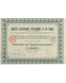 Sté Algérienne d'Eclairage et de Force. 1929