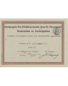 Cie des Ets Jean de Pierrepont Association en Participation