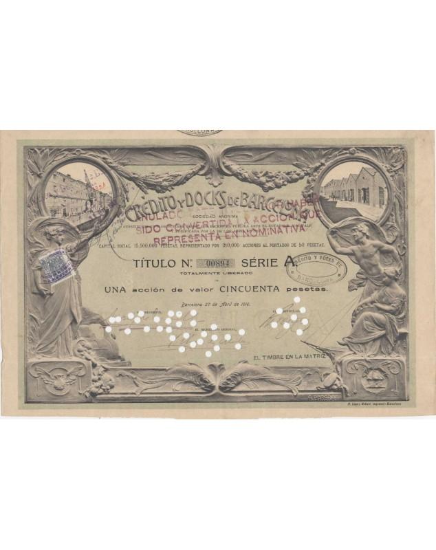Credito y Docks de Barcelona - 1 Share certificate 1910
