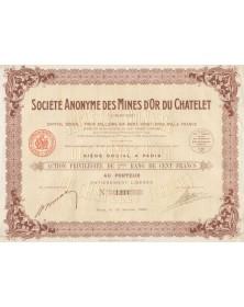 Sté des Mines d'Or du Chatelet (Creuse). 1923