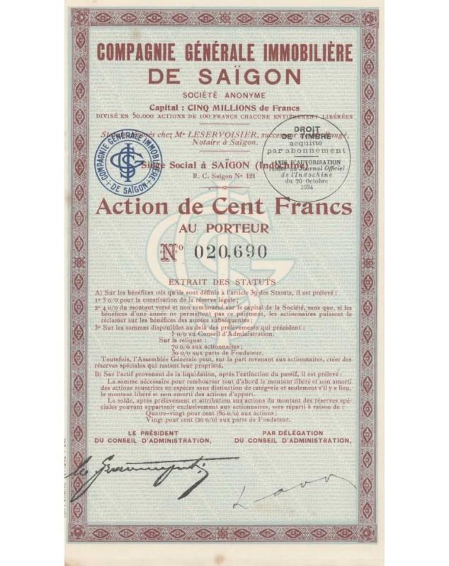 Cie Générale Immobilière de Saïgon. 1934