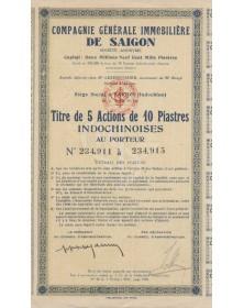 Cie Générale Immobilière de Saïgon. 1947