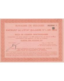 Royaume de Bulgarie - Emprunt de l'Etat Bulgare 5% Or 1902
