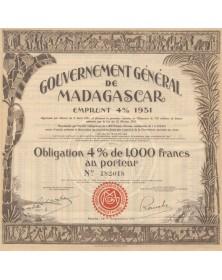 Gouvernement Général de Madagascar - 4% Loan 1931